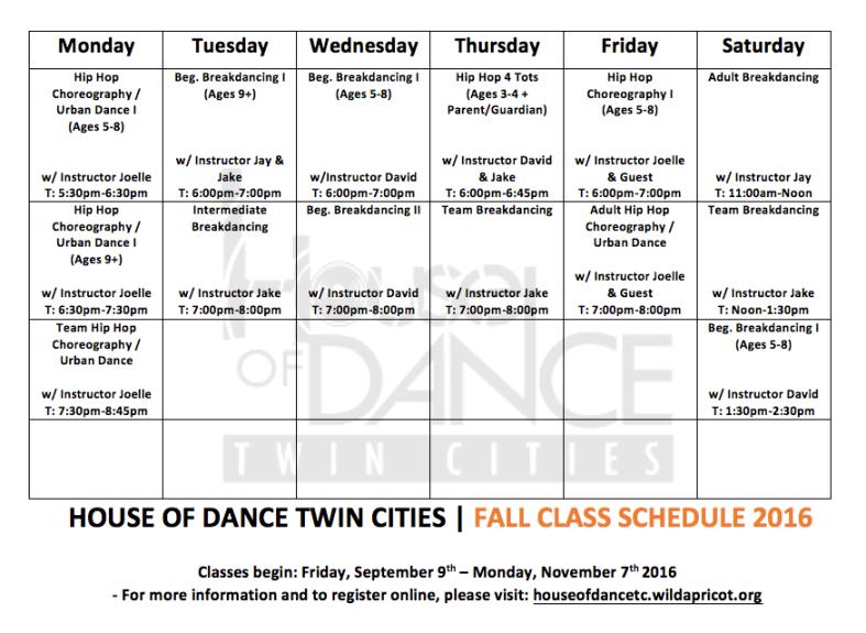 Fall Class Schedule 2016